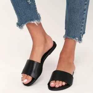 NEW LULUS Tara Black Nappa Leather Slide Sandals